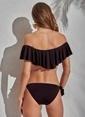 Morhipo Beach Düşük Omuz Volanlı Bikini Siyah